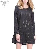 ElaCentelha Women Summer Autumn Dress 2016 Tops Ethnic Woman Dress Dots Hollow Out Plus Size Loose