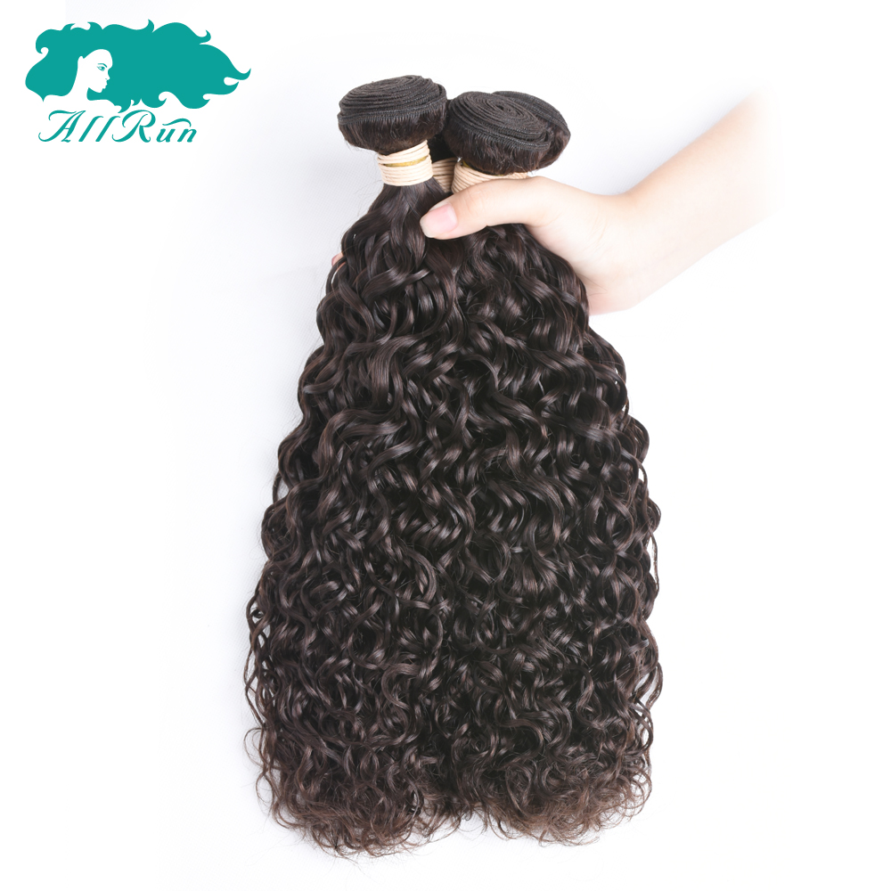 Allrun Hair Pre-colored Malaysian Water Wave Hair #2 Dark Brown 100% Human Hair Weave 2 bundles pack Non Remy Free Shipping