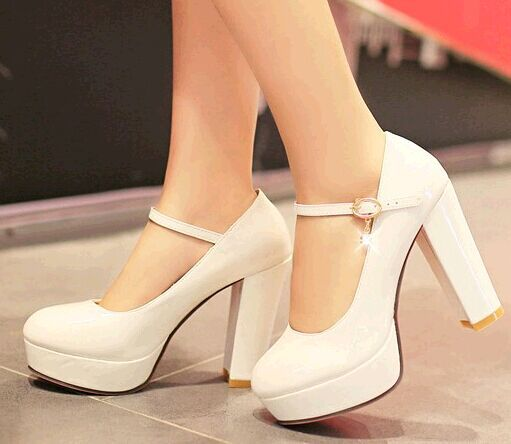 Sweet small yards 32 33 japanned leather ultra high heels wedding shoes bridal shoes thick heel plus size 40 - 43 single work