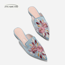 Women Sandals embroidery point toe flat mules shoes women ladies suede summer slippers shoes woman shoes 2019
