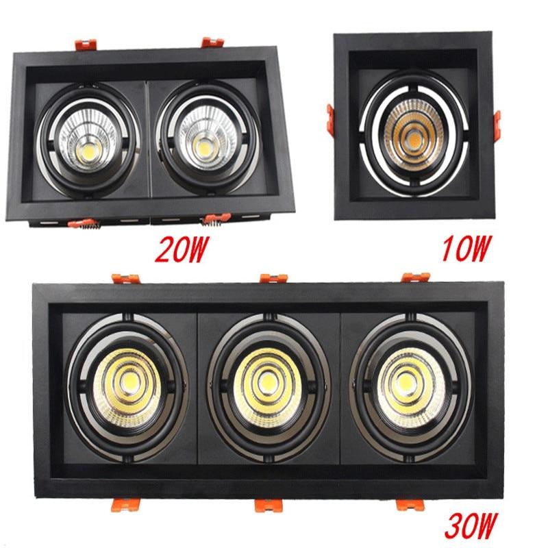 LED Downlights LED Spot  Super Bright Recessed Square  COB 10w 20W 30w LED Spot Light LED Decoration Ceiling Lamp AC110V 220V