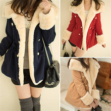 Luck Dog 1PC Winter Fashion Warm Double-Breasted Wool Blend Jacket Women Coat