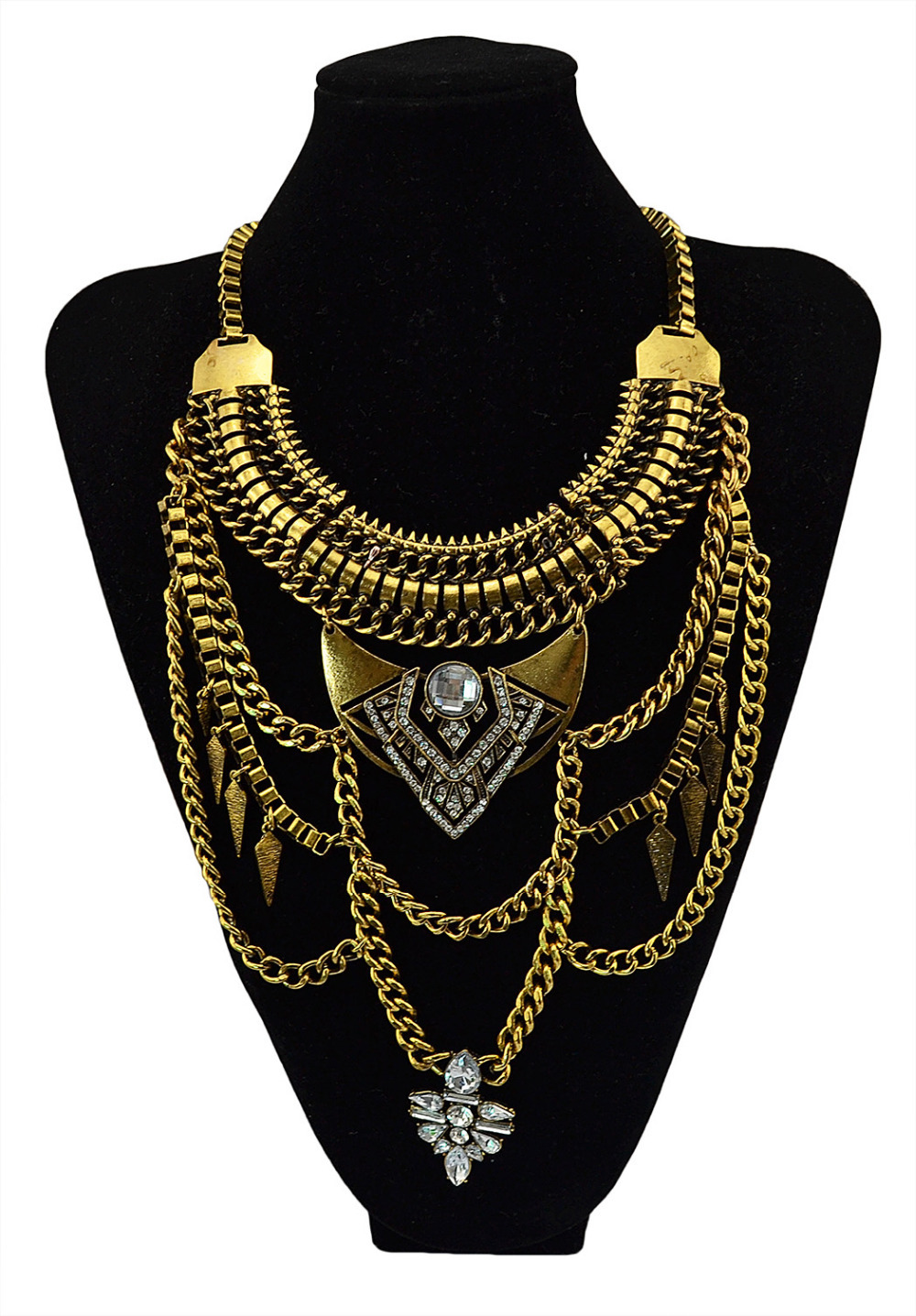 Boho Vintage Silver Multi layer Chains Necklace Gold Perfumes Jewelry Gypsy Charm Crystal Rhinestone Flower Pendants