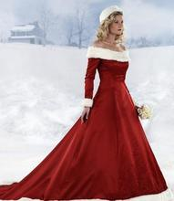Hot Sales Long Sleeve Red Christmas Dresses Winter Fall Dresses A-line Wedding Dresses Off-shoulder Warm Fur Bridal Gowns W1023