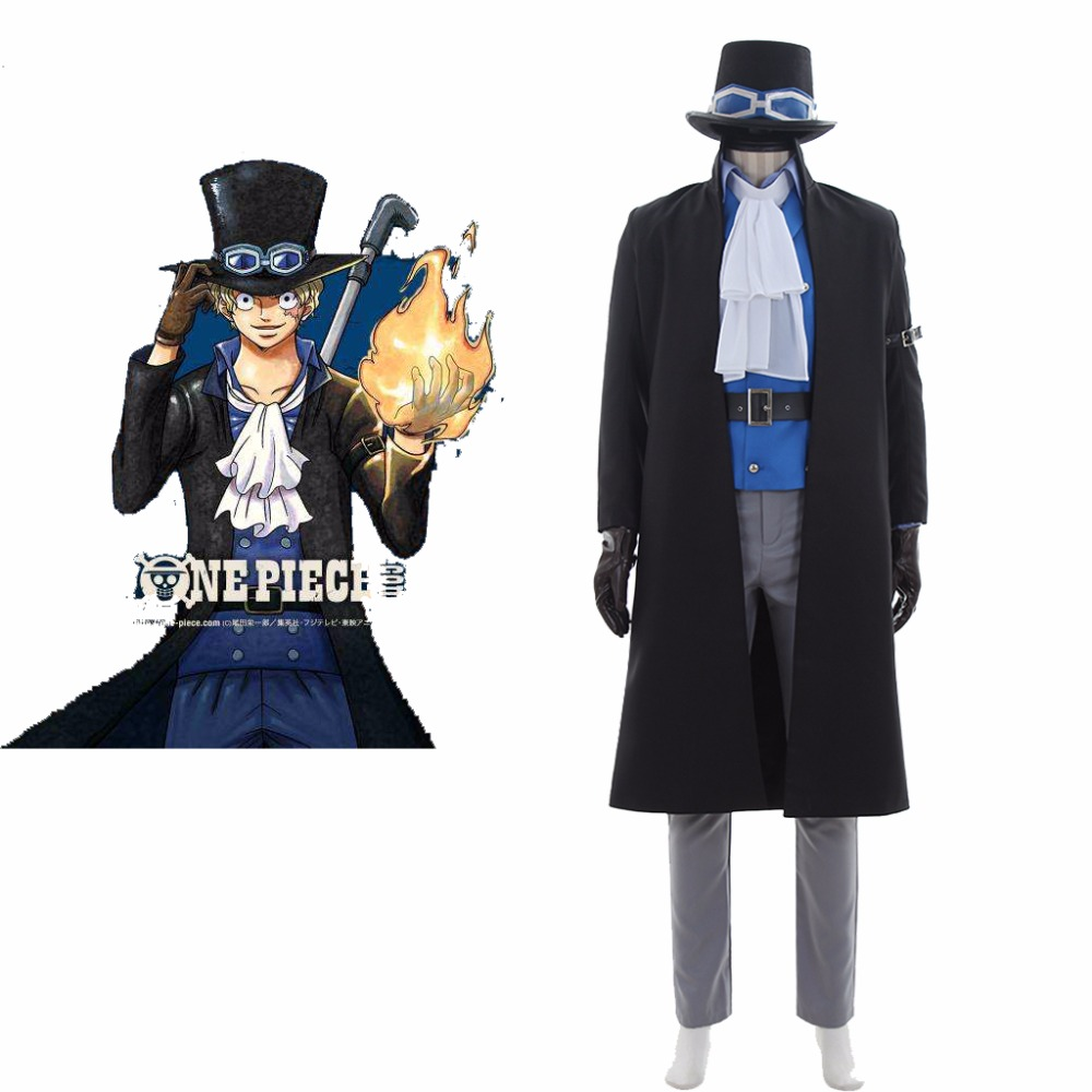 Custom Made Anime One Piece Sabo Cosplay Costume Adult Mens Womens Coat Pants Shirt Hat Gloves Suit Halloween Costume J81