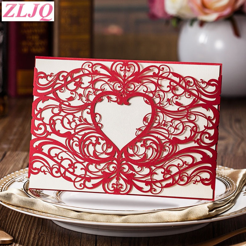 ZLJQ 30pcs Elegant Laser Cut Wedding Invitation Card Envelope Black red Heart Design Business Wedding Birthday Party Card