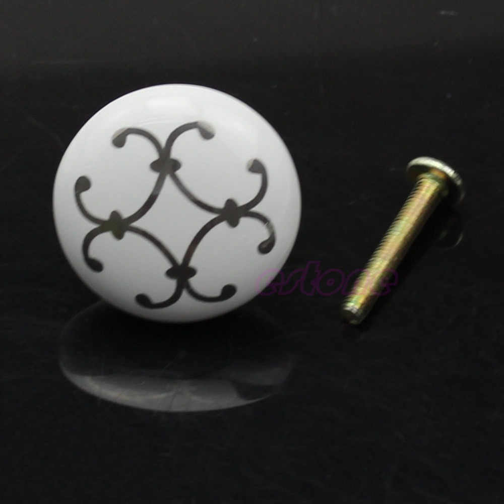F85 Free Shipping 32*25mm(D*H) Silver Flower Ceramic Knob Cabinet Cupboard Wardrobe Drawer Door Handle Pull New 10pcs lot free shipping european style porcelain ceramic drawer cabinet wardrobe door knob 2050mbl