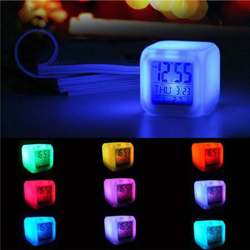 Home Decor DIY Colorful LED Digital Alarm Clock Electronic Display Watch Temperature Sounds Calendar Control Desktop Clocks