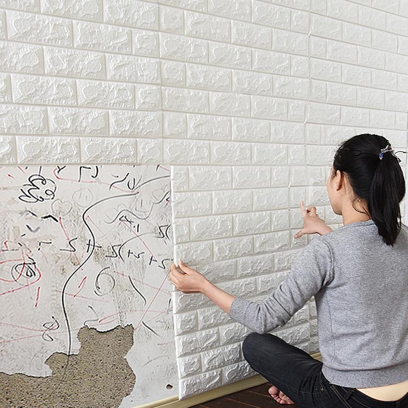 10 pièces auto-adhésif étanche TV fond 3D papier peint sticker Mural papier peint Mural chambre autocollants décoratifs