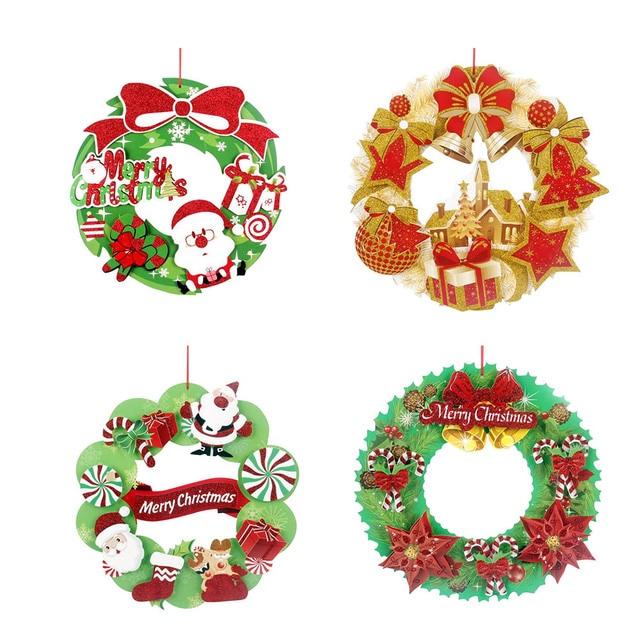 Frohe Weihnachten Anhänger.Us 1 96 20 Off Frohe Weihnachten Papier Hängen Anhänger Weihnachten Ornamente Kranz Anhänger Weihnachten Santa Claus Dekorationen Für