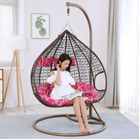 Fashion Swing Cany chair for garden double PE Rattan sofa outdoor Swing Hanging Basket