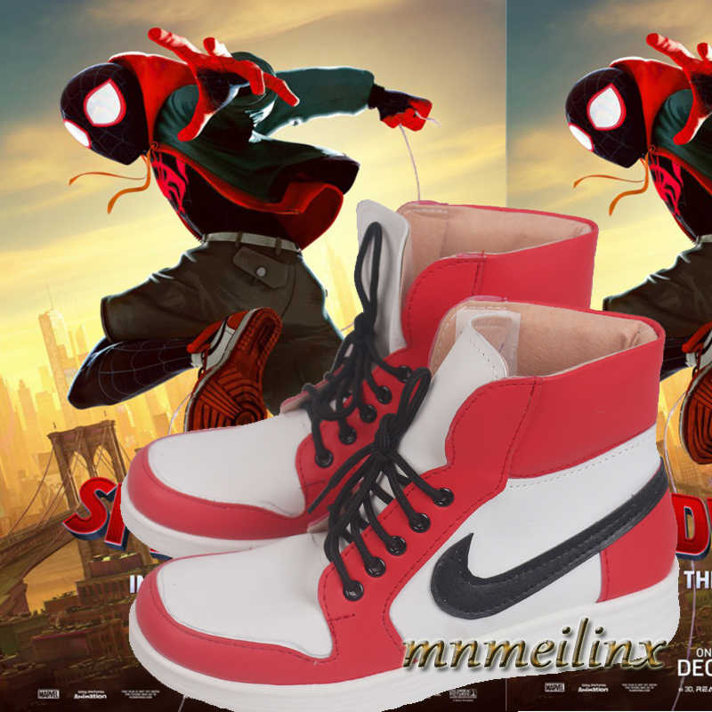 Superhero Cosplay Spiderman Miles Cosplay Shoes Halloween Custom Made Spider Man Costume Free Shipping