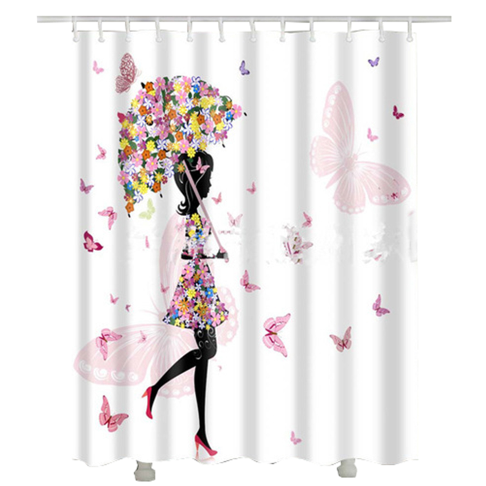 Fashion Custom Waterproof Polyester Fabric Bathroom Shower Curtain X The Fallen Leaves In Gold