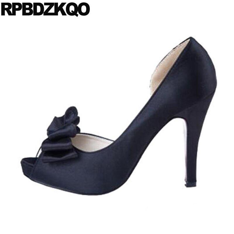 Femmes extrêmes arc grande taille 11 43 Scarpin pompes 3 pouces 10 42 doux talons hauts Satin plate-forme ivoire chaussures de mariage Peep Toe soie
