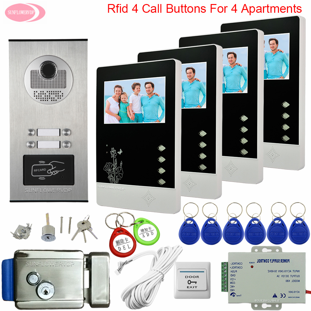 Video Door Entry Systems With Camera Rifd Access Control Video Intercom 4 Apartments 4.3