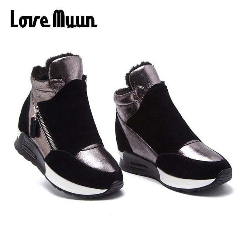 Zapatillas Calientes Whit De Mujeres Fur Altura 18 La Talón Brand Pisos Zapatos black Aumento Classic No Casual Alto New Black Fur Ll Top Cuñas 2018 Plataforma Del Ocultos FH0x6qwt