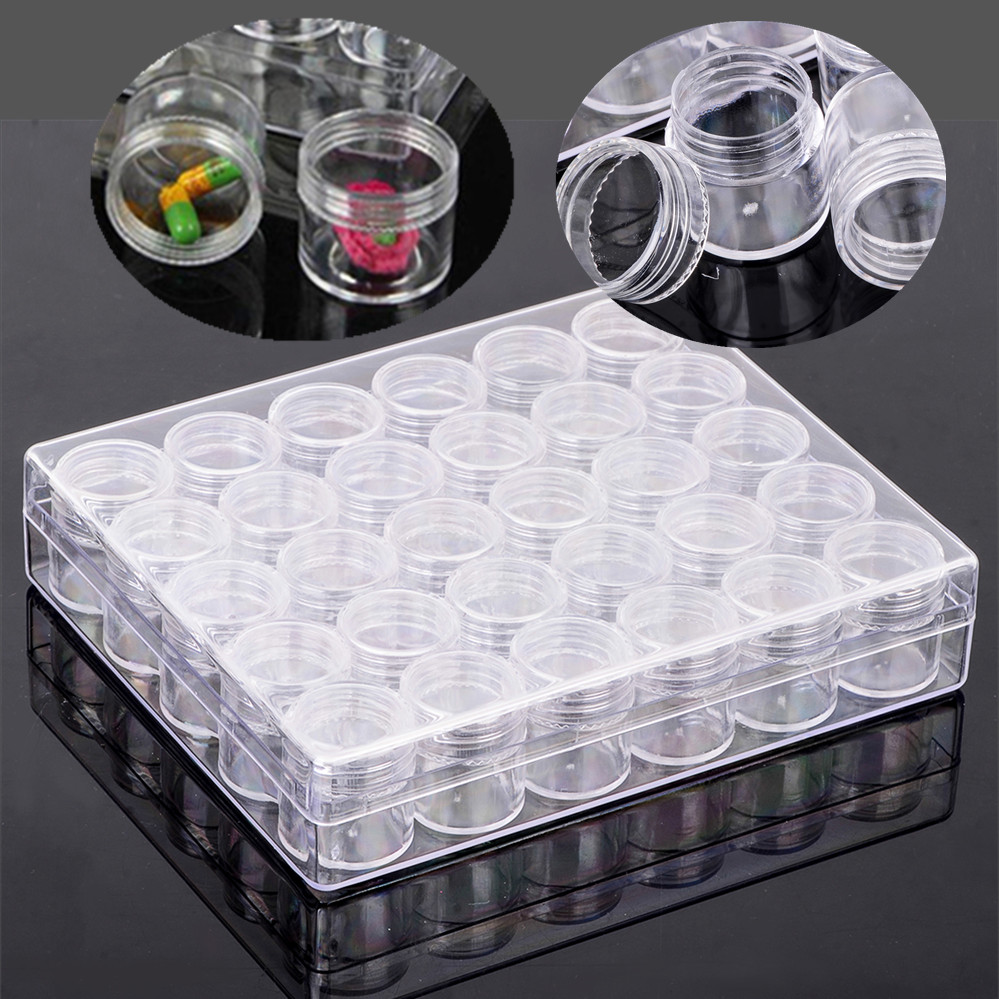 JX-LCLYL Clear Plastic Jewelry Storage Rectangle Box 30 Small Round Container Jars