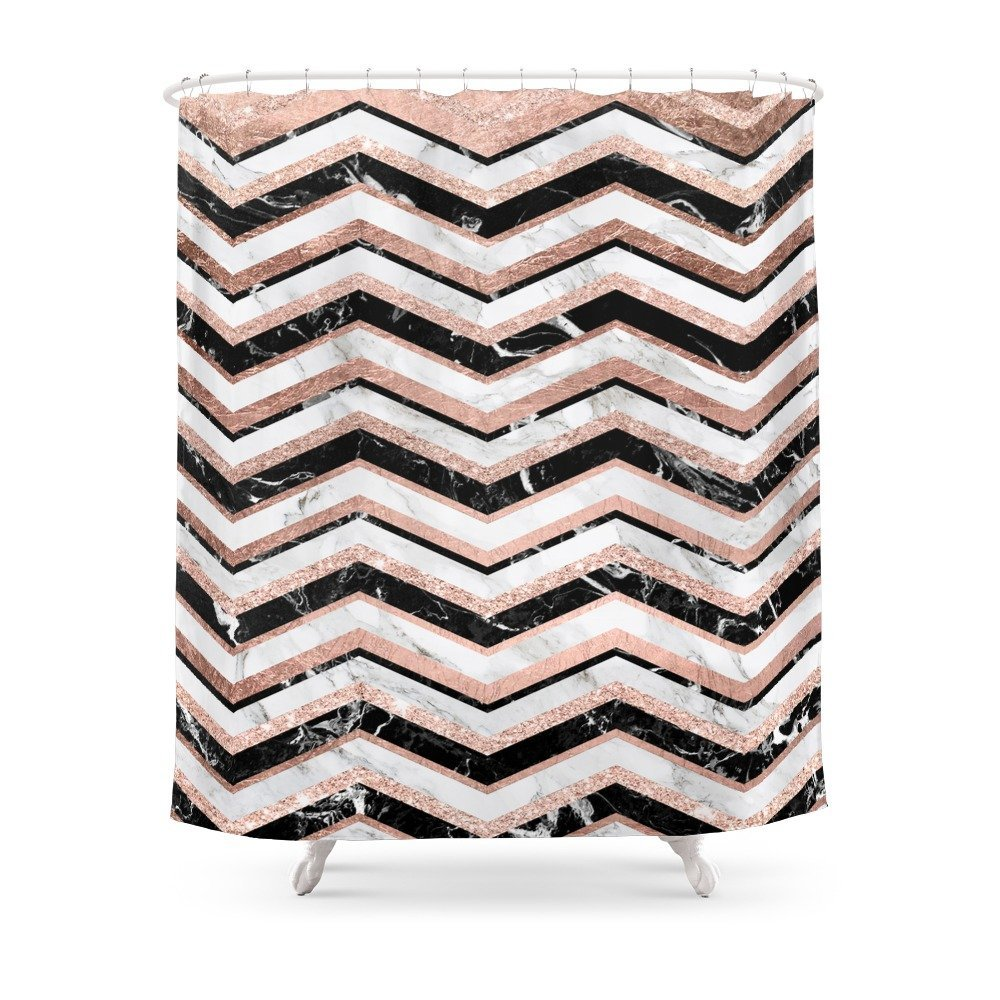 Modern Rose Gold Black White Marble Chevron Shower Curtain ...