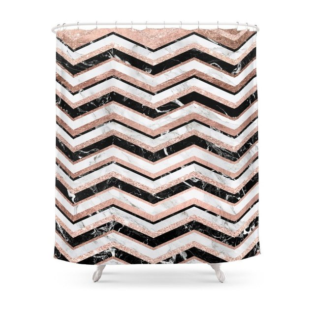 Modern Rose Gold Black White Marble Chevron Shower Curtain Waterproof Polyester Fabric Bathroom Decor Printed