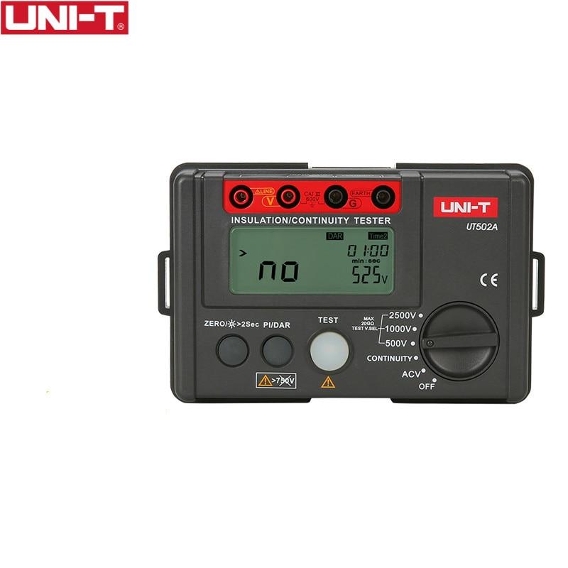 UNI-T UT502A 2500Vデジタル絶縁抵抗計テスターメガオームメーター高電圧計導通テスター、LCDバックライト付き