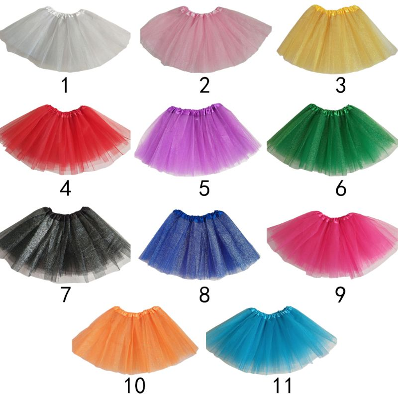 Baby Girls Ballet Dance Mini Tutu Skirt Three Layer Metallic Glitter Sequins Candy Pleated Princess Tulle Pettiskirt 11 Colors
