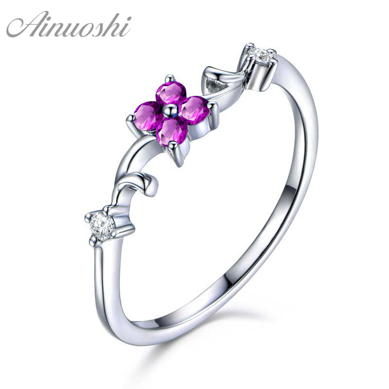 AINUOSHI Natural Amethyst Flower Ring Oval Cut Gemstone 925 Sterling Silver Delicate Ring Engagement Party Jewelry Women RingAINUOSHI Natural Amethyst Flower Ring Oval Cut Gemstone 925 Sterling Silver Delicate Ring Engagement Party Jewelry Women Ring
