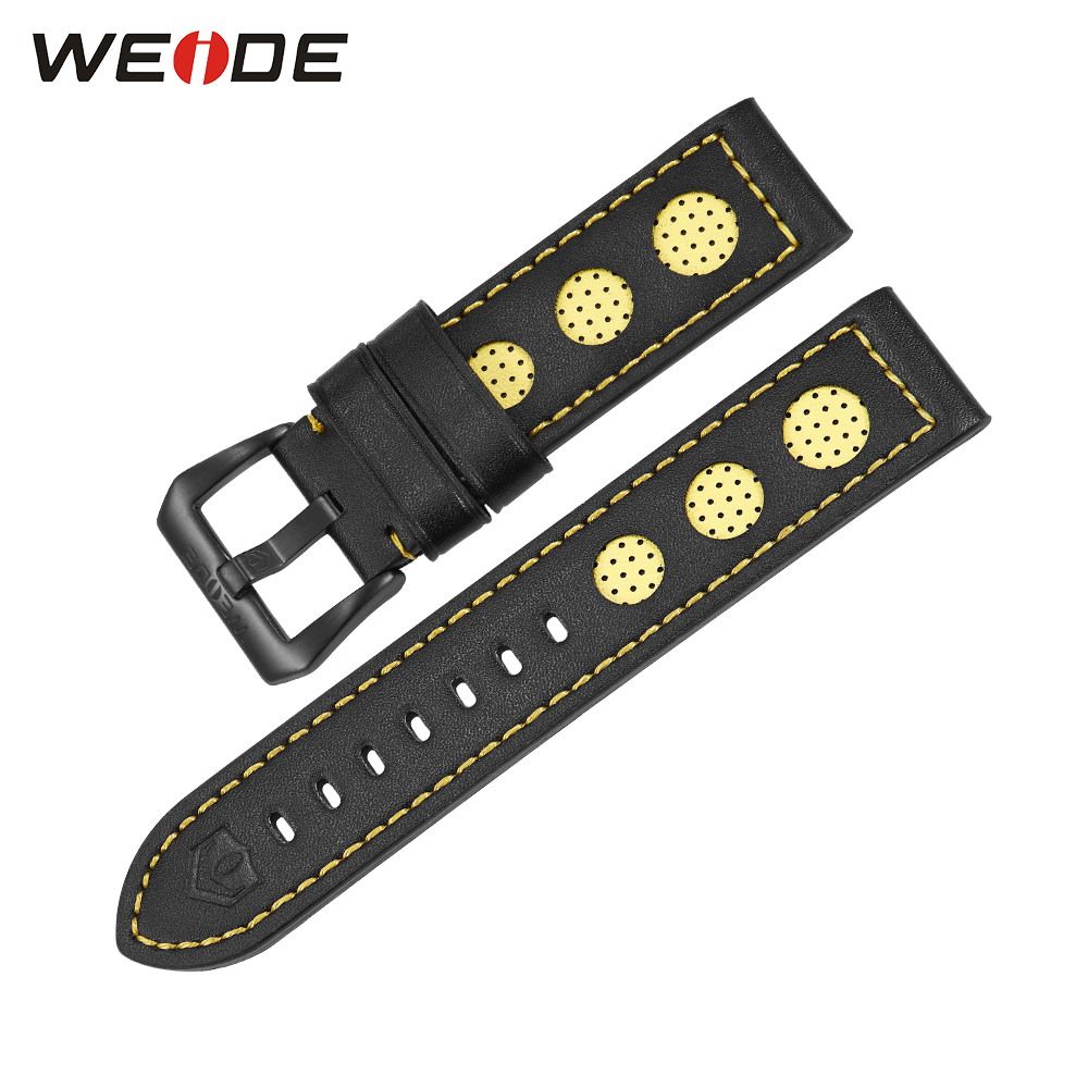 WEIDE Luxury Watches Genuine Leather Watch Strap For Men Yellow Color 21cm All Black Buckle High Quality Watch Bands prada короткий синий джемпер с отделкой