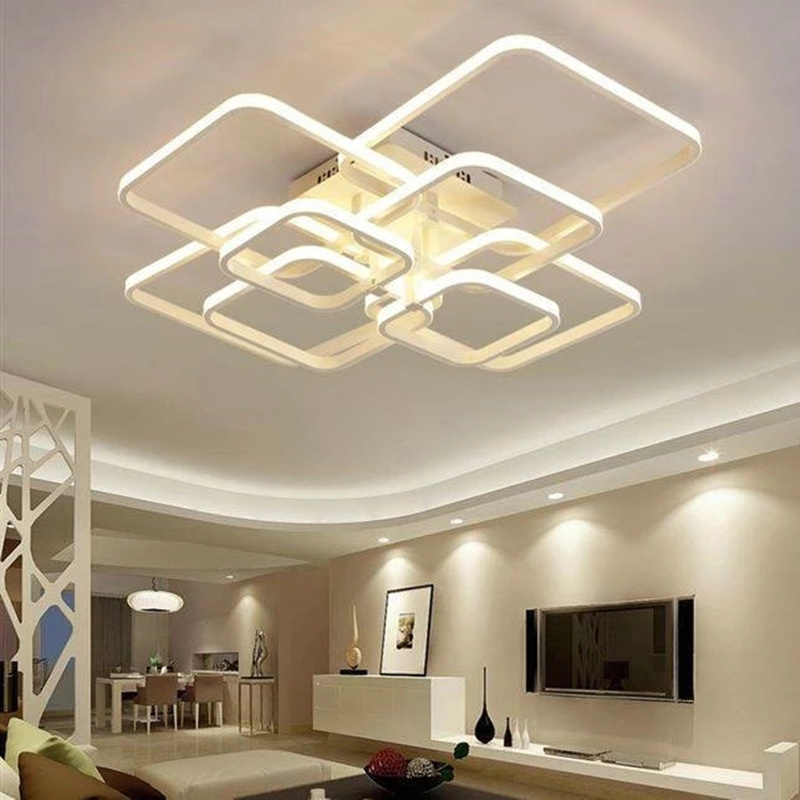 NEO Gleam Rectangle Acrylic Aluminum Chandeliers Led ceiling lights