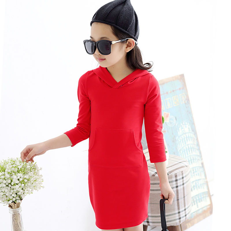 2017 New Girls Autumn Cotton Hooded A Line Dresses Kids Fashion ...