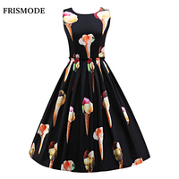 S 3XL Women Cute Ice Cream Print Sleeveless Midi Dress 2019 New Fashion Imitated Silk Vestidos Young Lady Vintage Summer Dress