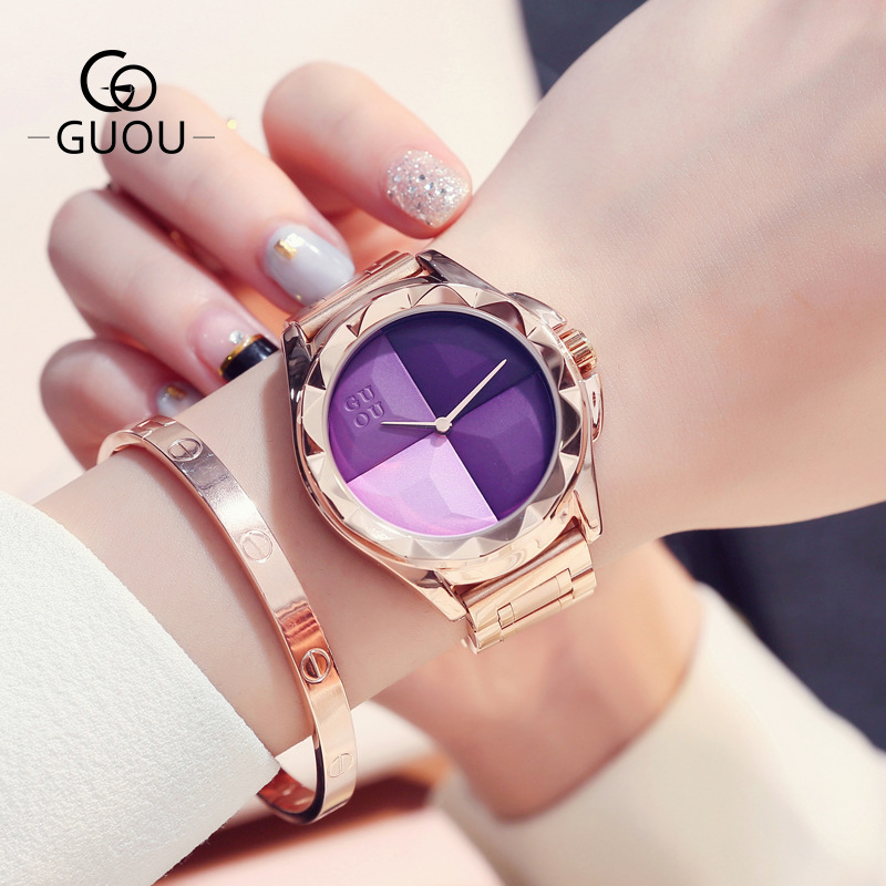 GUOU 2018 Women's Quartz Watches Brand Luxury Fashion Ladies Girls Female Rose Gold Wrist Watch Clock Women-watches 7 Colors fashion women calendar rose gold quartz watch luxury brand guou six pin retro big dial female multifunction waterproof clock