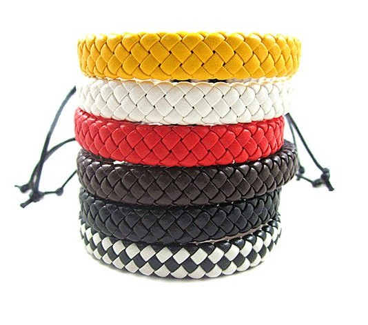 27b1ff69cdae Color de la manera que teje la pulsera de cuero unisex hombres mujeres  cordones cadena pulseras accesorios mezclados 10 unids lote envío libre