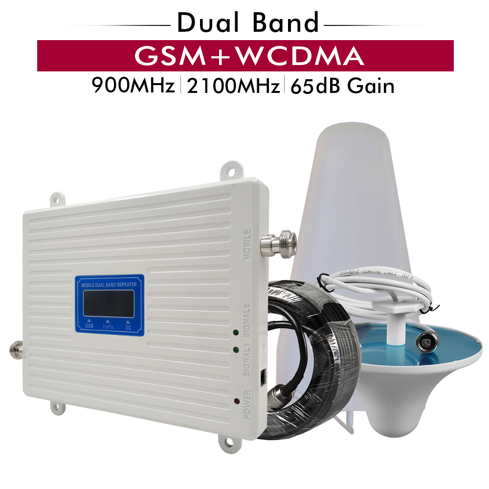 65dB Gain GSM 900+UMTS/WCDMA 2100 Mobile Signal Booster 2G 3G Dual Band Cellphone Signal Repeater Cellular Amplifier Antenna Set
