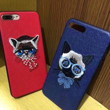 Hot Art Handmade Cat Elegant Retro Cell Phone Cases For iphone 6 6s 6Plus 6sPlus 7 7Plus Chic Cat Embroidery Mobile Cover Bags