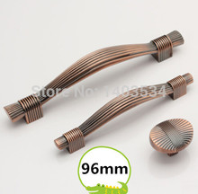 length 127mm hole pitch 96mm red copper color zinc alloy kitchen furniture cabinet handle bedroom drawer pulls
