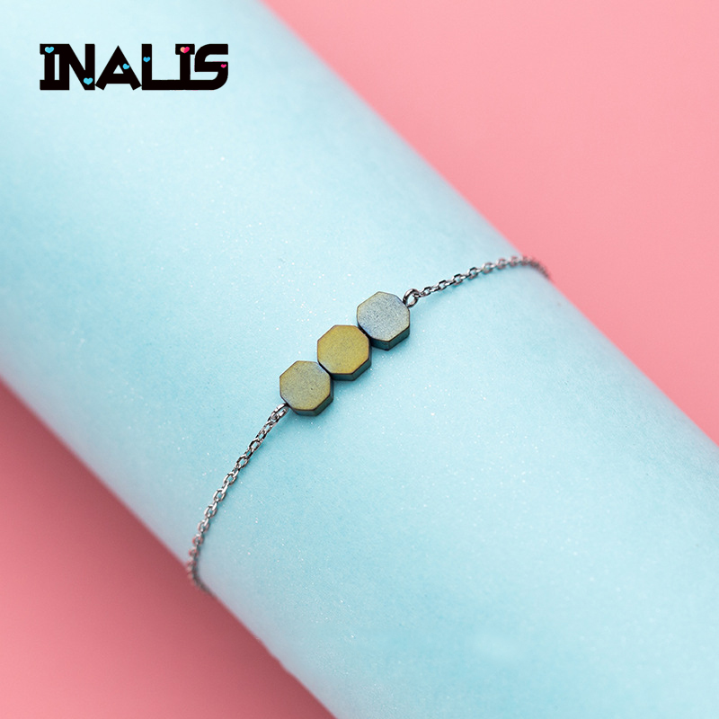 Imported From Abroad Inalis New Unique Link Chain Bracelet S925 Sterling Silver 3pcs Octagon Accessories Bangle Fine Jewelry For Women Girl Party Bracelets & Bangles