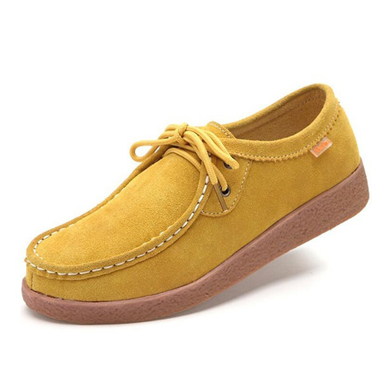 Spring Rubber Lace-up Women Casual genuine   leather   Flats Fashion Outdoor Office Leisure   Suede   Women Shoes