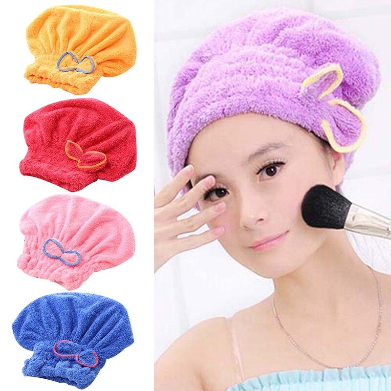 Microfibre Quick Hair Drying Bath Spa Bowknot Wrap Towel Hat Cap For Bath Bathroom Accessories