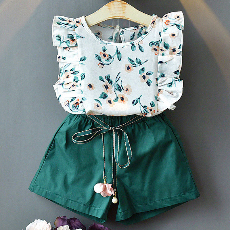 Summer Girls Clothing Set Fashion Print Flying Sleeve Top + Solid Color Shorts Toddler Baby Girls Clothes