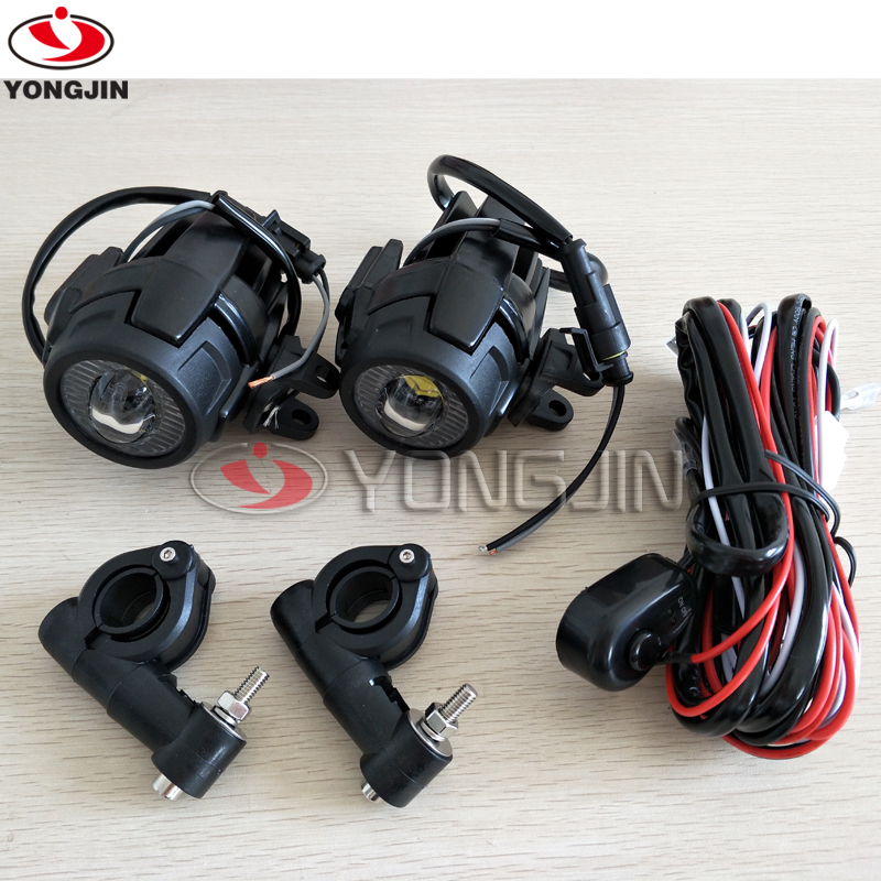 Pair 40W LED Auxiliary Spot Driving Light With Protective Guard For Motorcycle R1200GS F800GS K1600