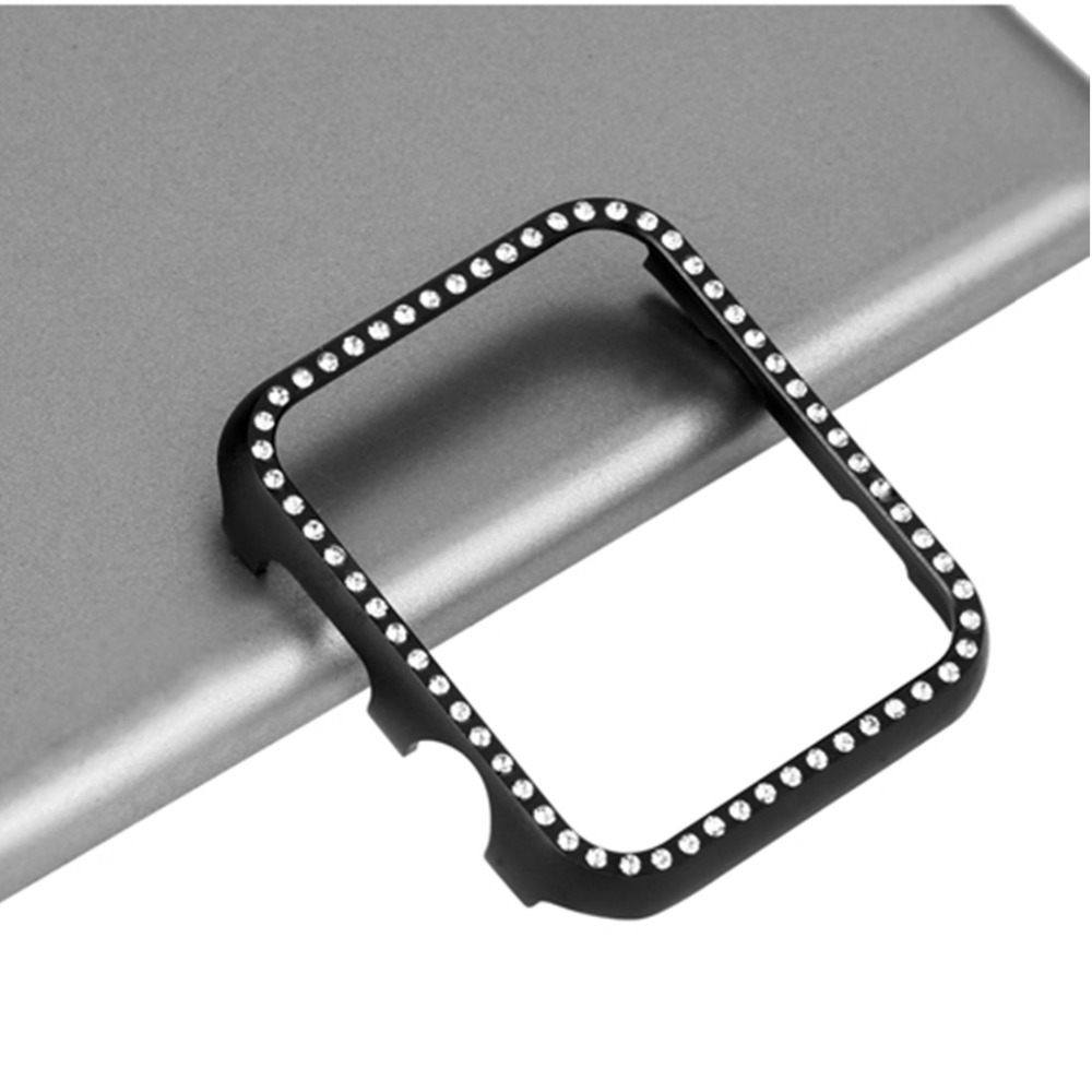 CRESTED Diamond case cover For Apple watch 4 band 44mm/40mm Iwatch strap 3/2 42mm Aluminum alloy Frame Crystal protective shell case cover for apple watch 4 44mm 40mm iwatch strap 3 2 42mm 38mm aluminum alloy frame diamond protective shell accessories
