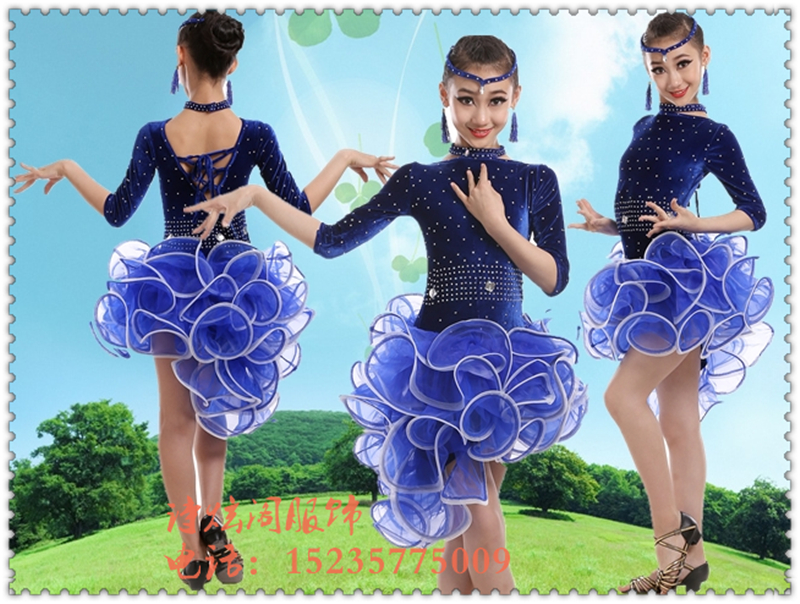 New 2016 Lady/Girls Custom Latin Dance Dress Women Blue/Black Tango/Cha Cha/Rumba/Samba Dress For Dancing Regatas Femininas Adul