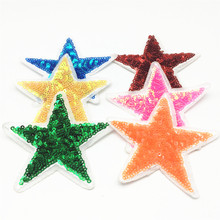 120pcs Mixed Sequin Star  Embroidered Iron On Patches Clothes Sequins Patch DIY