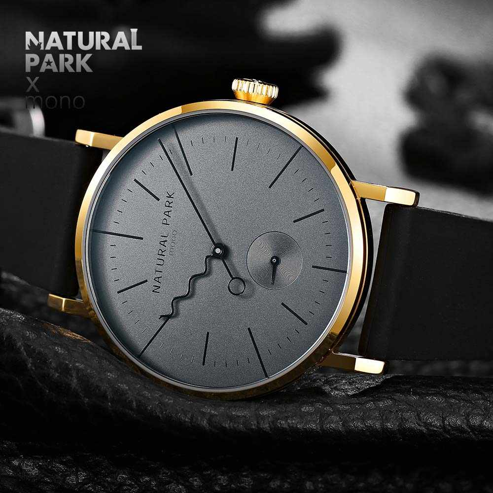 relojes hombre Top brand luxury Quartz Watch men Casual Business NATURAL PARK Red silica gel Strap Watch Men's Relogio gift Male