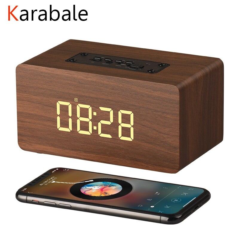 Wooden Bluetooth Speaker Microphone Alarm-Clock Soundbar Fm-Radio Hifi Wireless Portable