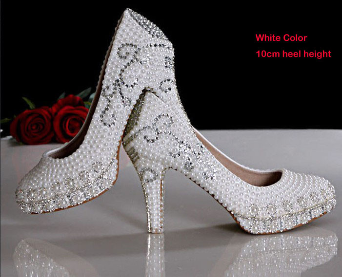 2016 New Style 10cm Heel Luxury ShoesPretty Wedding Shoes Imitation Pearl White Bridal Dress Shoes Party