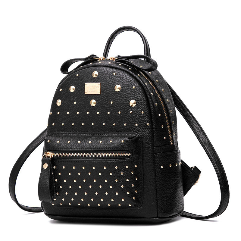 Pretty Style Rivet Backpack Girl School Student Backpacks Pu Leather Mochila Escolar Bag Fashion Black Gold Silver Rucksack