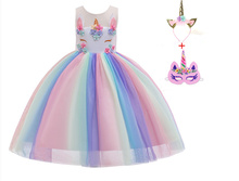 2019 new unicorn girl rainbow dress pettiskirt cosplay birthday party performance show costume dress valentine black ruffle rainbow hearts girl pettitop black petal pettiskirt nb 8y mapsa0121