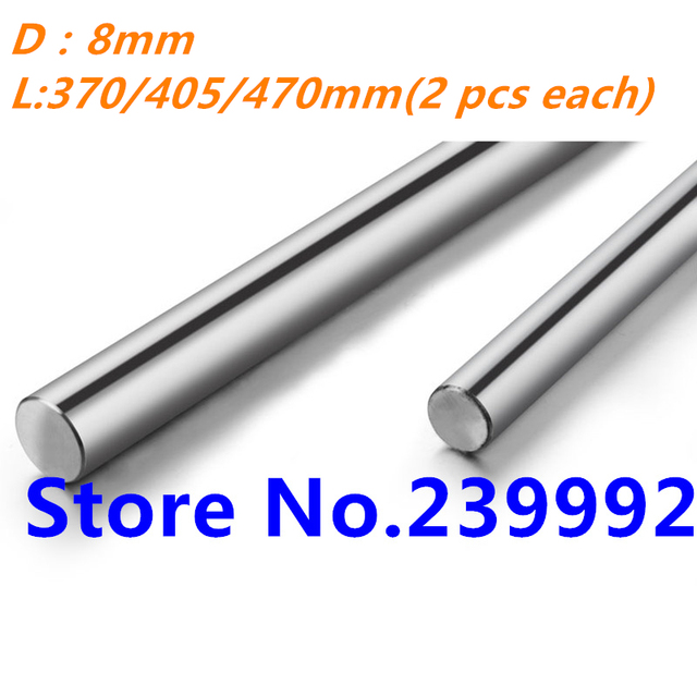 8mm linear shaft  L 370/405/470mm Linear rail round shaft 8mm linear guide rail for 2pcs each length