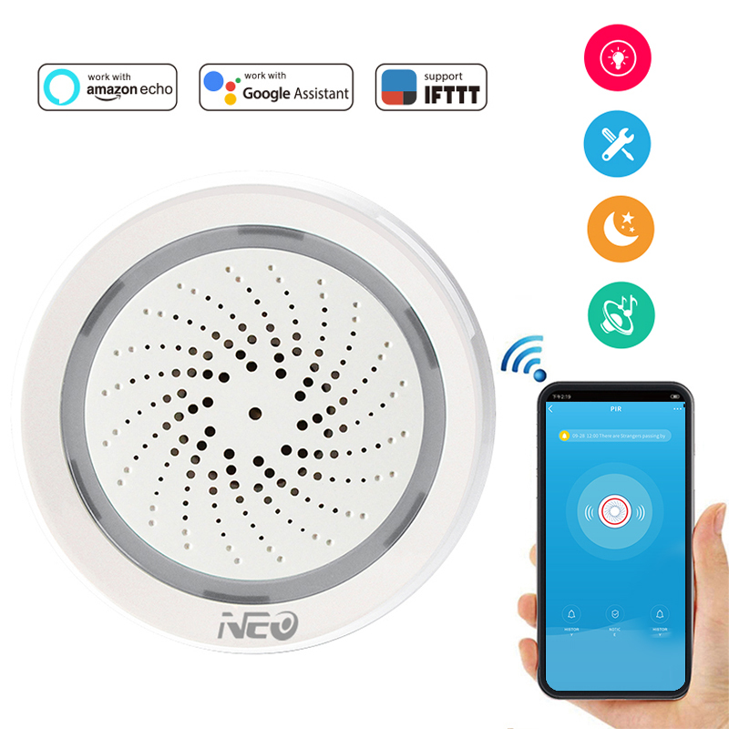 NEO Coolcam Wifi Siren Alarm Sensor And App Notification Alerts,No Hub Required,Plug And Play,Compatiab Alexa Echo Google Home